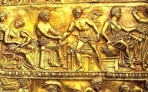 Фрагмент золотой обкладки горита из Мелитопольского кургана.