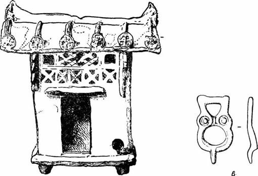 Рис. 38. Глиняная модель китайского дома из раскопок близ горы Лао-Тье.  Рис. 39. Китайский дом. Бронзовая пряжка из траншеи А, уч. 6