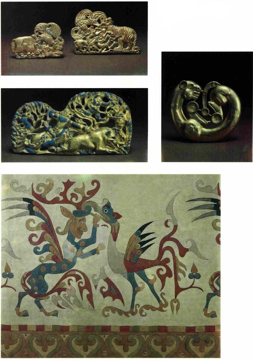 Золотые изделия из Сибирской коллекции Петра I и фрагмент войлочного ковра из Пазырыка.