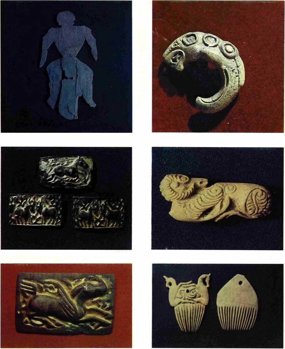 Аймырлыг. Берестяная фигурка, клык с изображением хищника, золотые бляшки с изображением животных, костяные фигурки горного барана и гребни