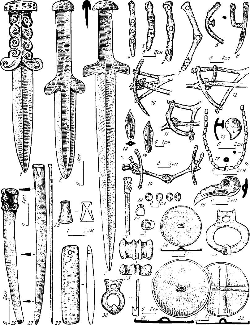 Таблица 61. Ранние кочевники Алтая (VIII—. VI вв. до н. о.). Погребальный инвентарь и случайные находки