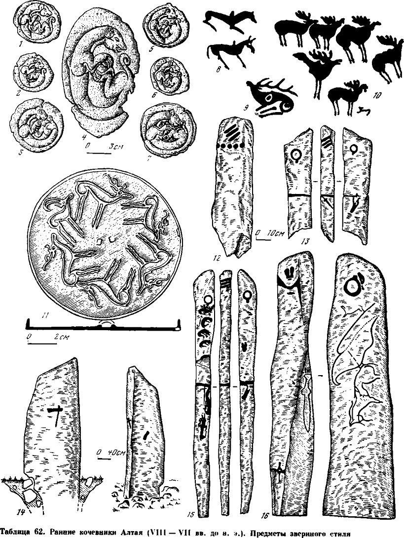 Таблица 62. Ранние кочевники Алтая (VIII—VII вв. до н. э.). Предметы звериного стиля.
