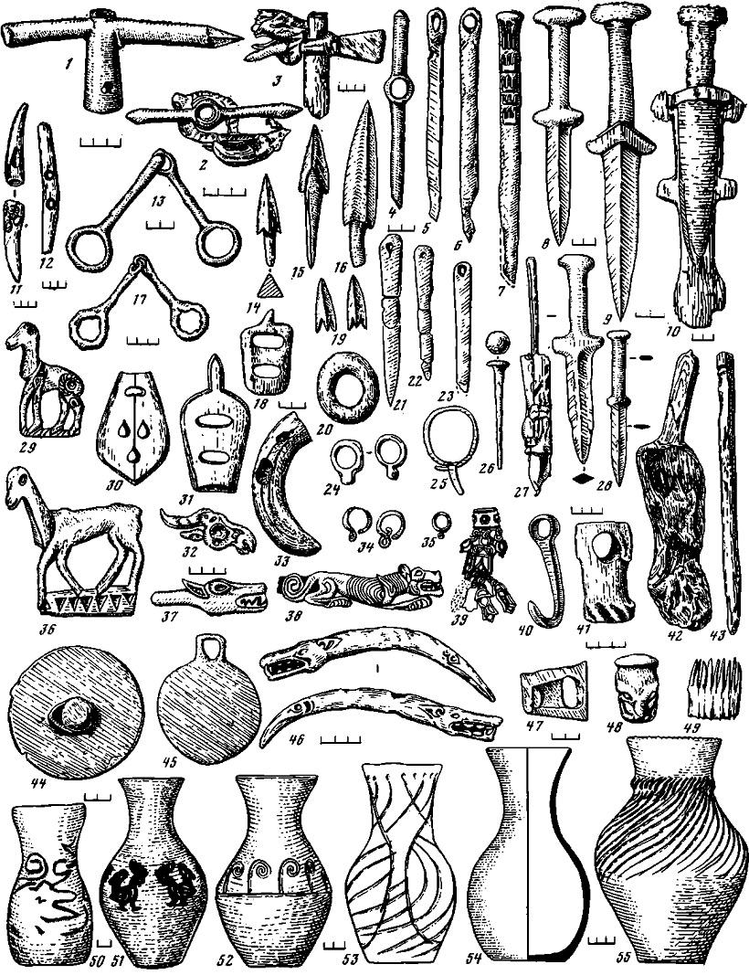 Таблица 63. Ранние кочевники Алтая (V — III вв. до н. э.). Погребальный инвентарь
