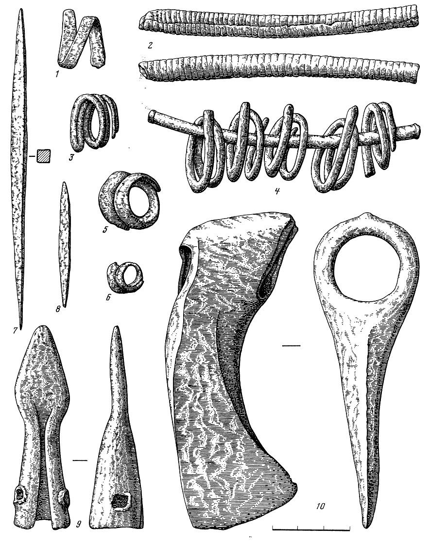 Рис. 41. Медные изделия из Балановского могильника 1—6 — украшения; 7, 8 — шилья; 9 — копье; 10 — топор вислообушный