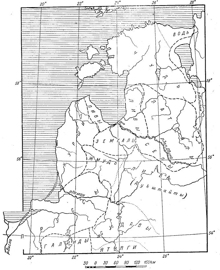Расселение племен юго-восточной Прибалтики в X - XIII вв.