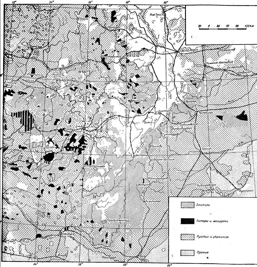 Карта расселения башкир