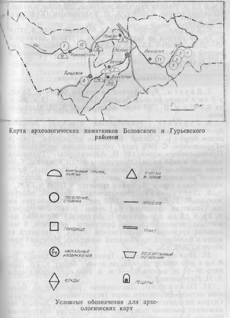 Карта археологических памятников Беловского и Гурьевского районов Условные обозначения для археологических карт