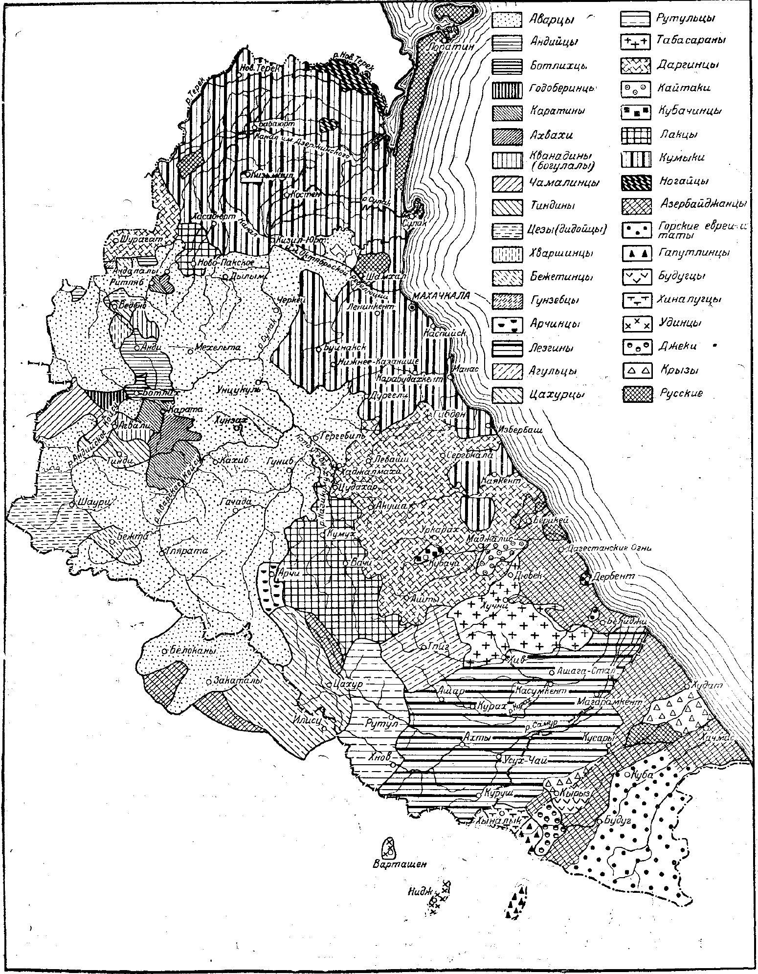 Карта народов Дагестана (по данным обследования 1953—1954 гг.)