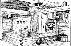 Русская» печь в старой крестьянской избе (Краснохолмский р-н, Калининской обл.)