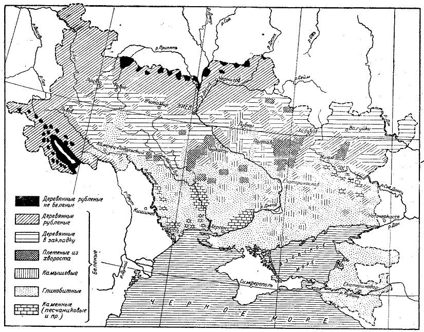 Распространение типов построек у украинцев (по Ф. К. Волкову)