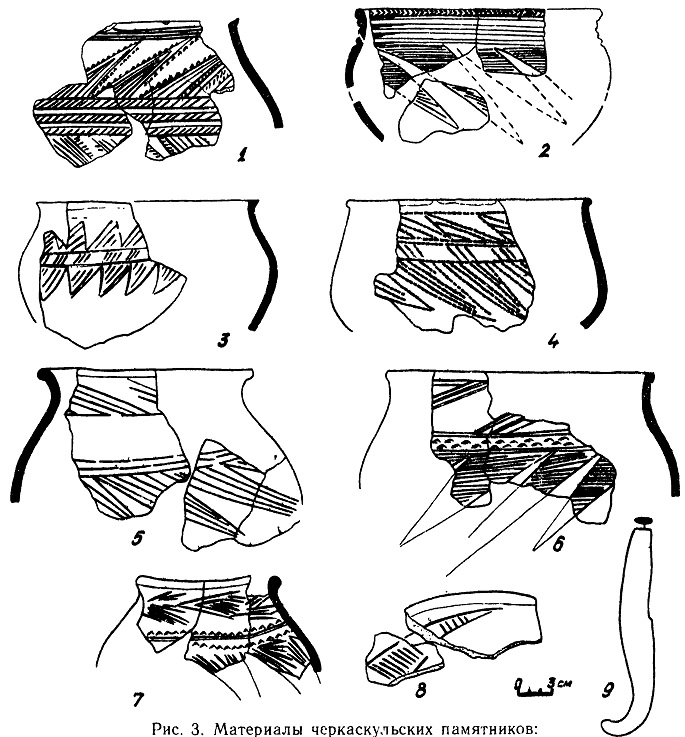 Рис. 3. Материалы черкаскульских памятников: 1 - поселение Сгаро-Кабаново; 2 — поселение Симониха; 3—5 — поселение Кокча 15; 6—7 — Вахшская стоянка; 8—9 — поселение Кан-гурт-тут. 1—8 — керамика, 9 — бронза