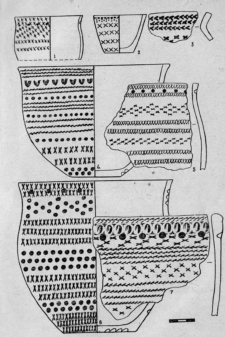 Рис. 2. Малоатлымское городище. Керамика эпохи поздней бронзы (первый тип)