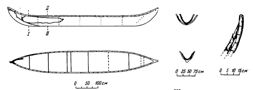 Рис. 5. Носовая часть лодки № 1. Видно отверстие для каната