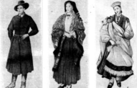 Латышский национальный костюм: а — мужской костюм (Видземская обл.); б - женский костюм (Дундагский р-н); в—женский костюм (Ницкий р-н)