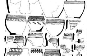 Рис. З. Керамика из могильника Устинкино. 1 - сооружение III, мог 1; 2 - окружение II, мог.4; 3 - сооружение ХIV, мог 1; 3-а - дно сосуда 3; 4 - сооружение IV, мог.З; 6 - сооружение XI, мог.З; 7,20 - сооружение VI, мог 1; 8 - сооружение XI; 9 - сооружение X, мог Л; 10 - сооружение Ш; II - сооружение X, мог.2; 12 - сооружение XI; 13 - сооружение П; 14 - сооруже¬ние П, мог.З; 14-а - сосуд 14 по реконструкции Д.Г.Савинова и В.В.Боброва; 15 - сооружение Ш, мог.5; 16 - сооружение П; 17 - сооружение П; 18 - сооружение 5, мог. 2; 19 - сооружение П, мог.6.