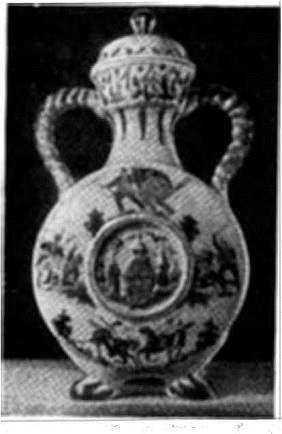 Глиняный сосуд с художественной рописью: «800-летие Москвы» (Гжель)