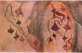 24. Охота на быка. Живописное изображение на скалах ущелья Зараут-сай. Мезолит.
