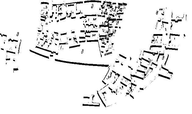 Изометрический план укрепленного поселения Хаджилар II А (около 5400 г. до н. э.) и остатки более поздней крепости Хаджилар I (около 5250 г. до н. э.): д — двор, з — зернохранилище; к — караульное помещение; м — керамическая мастерская; в — колодец, с — святилище'.