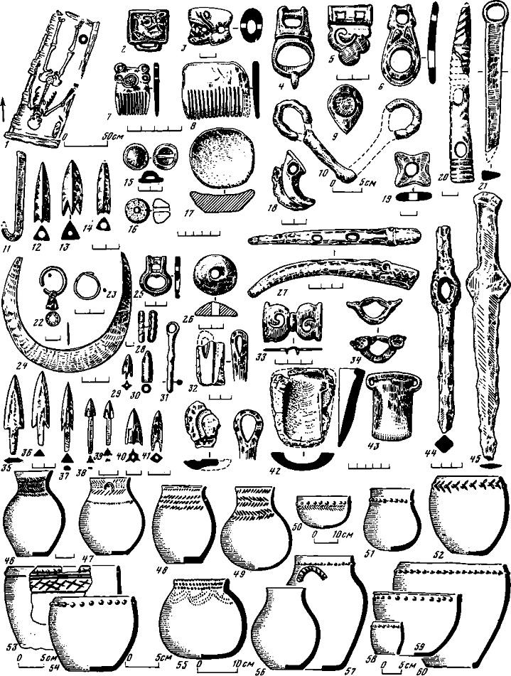 Таблица 70. Большереченская культура. Вещи и глиняная посуда из погребений и поселений бийского (V — III вв. до н. э.) и березовского (II—I вв. до н. э.) этапов