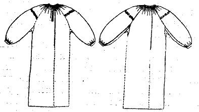 «Карпатский» тип женской рубахи. Рукава слились с поликами, вшитыми по основе (Закарпатская обл.)