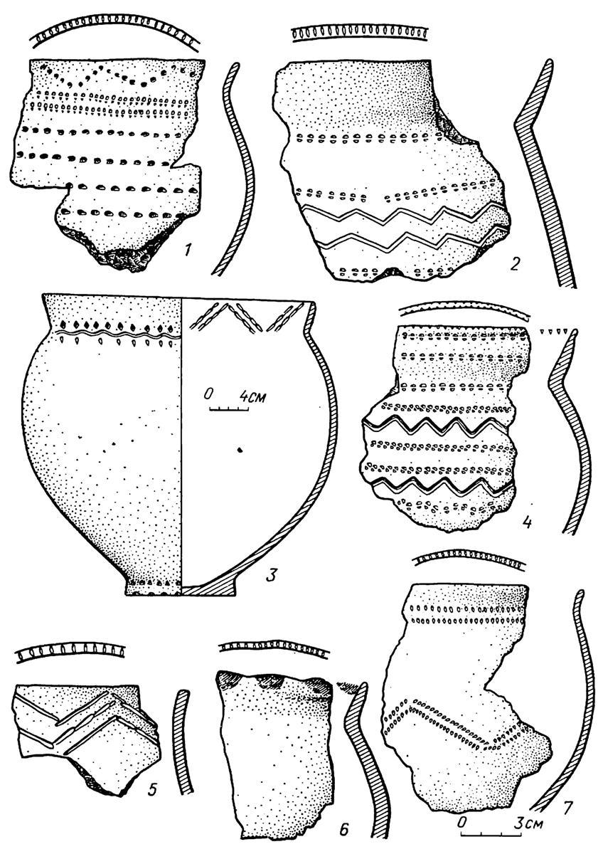 Рис. 8. Энеолит. Тюменское Притоболье. Боборыкинская культура. Керамика поселения Байрык 1Д (1—7)