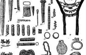Таблица 102. Культура плиточных могил. Керамика (27, 28), инвентарь среднего (7—26) и позднего (1—6) этапов