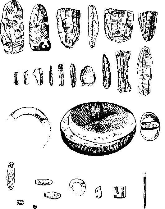 Характерные орудия и предметы культуры Карим Шахир в Северном Ираке: каменные бусы; кольца; браслеты; зернотерки и желобчатый полировальный камень.