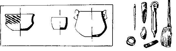 Характерные предметы культуры Джармо докерамического неолита. Внизу слева — древнейшая керамика из верхних слоев.