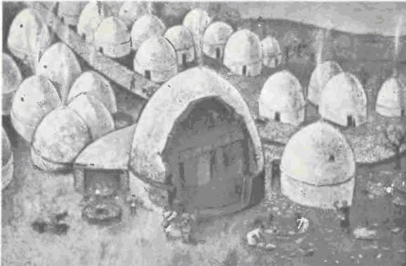 Реконструкция ранненеолитического поселения в Хирокитиа на Кипре: сводчатые дома, коридоры» мастерские и главная дорога, ведущая через поселение.