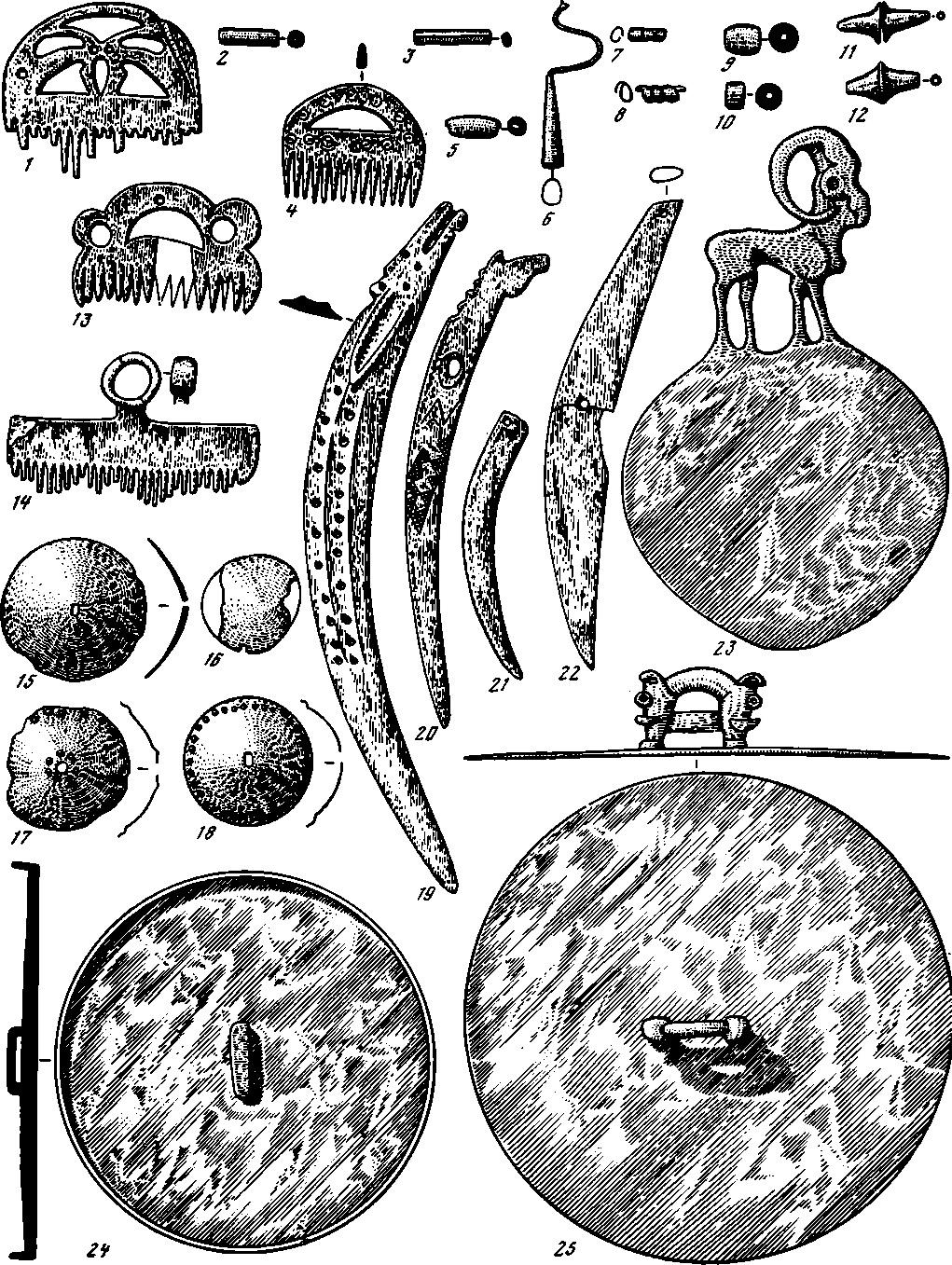 Таблица 87. Тагарская культура. Украшения и предметы туалета