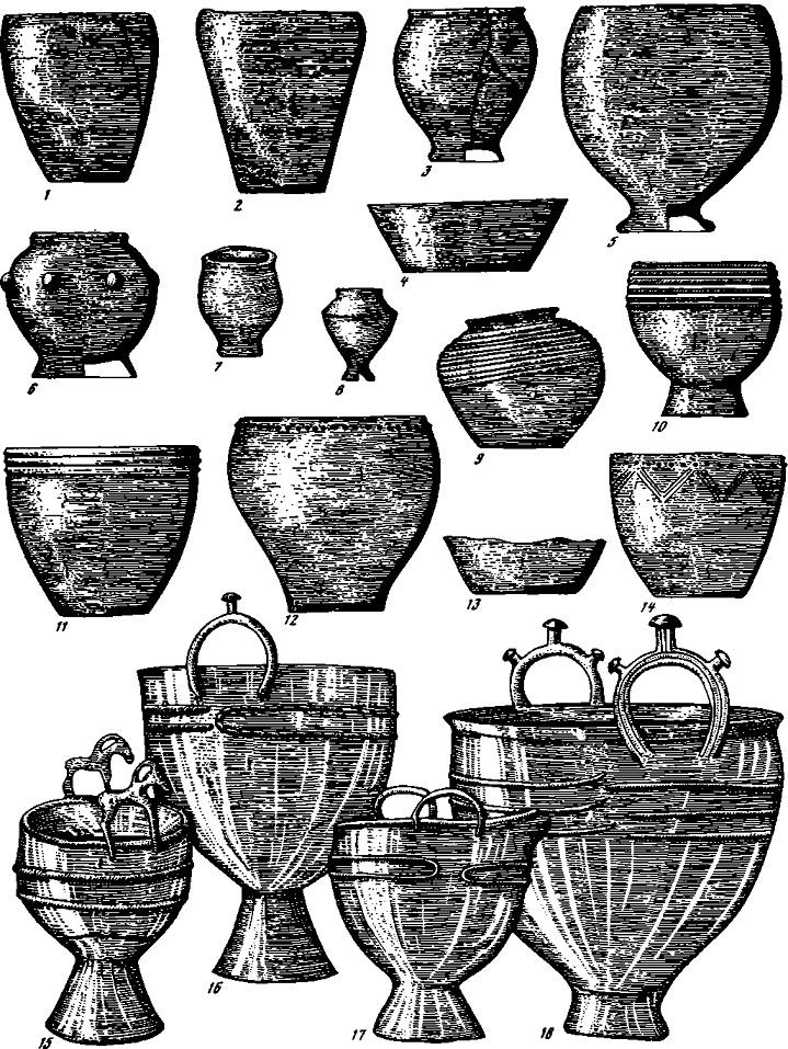 Таблица 89. Тагарская культура. Керамика (1—14). бронзовые котлы (15—18)