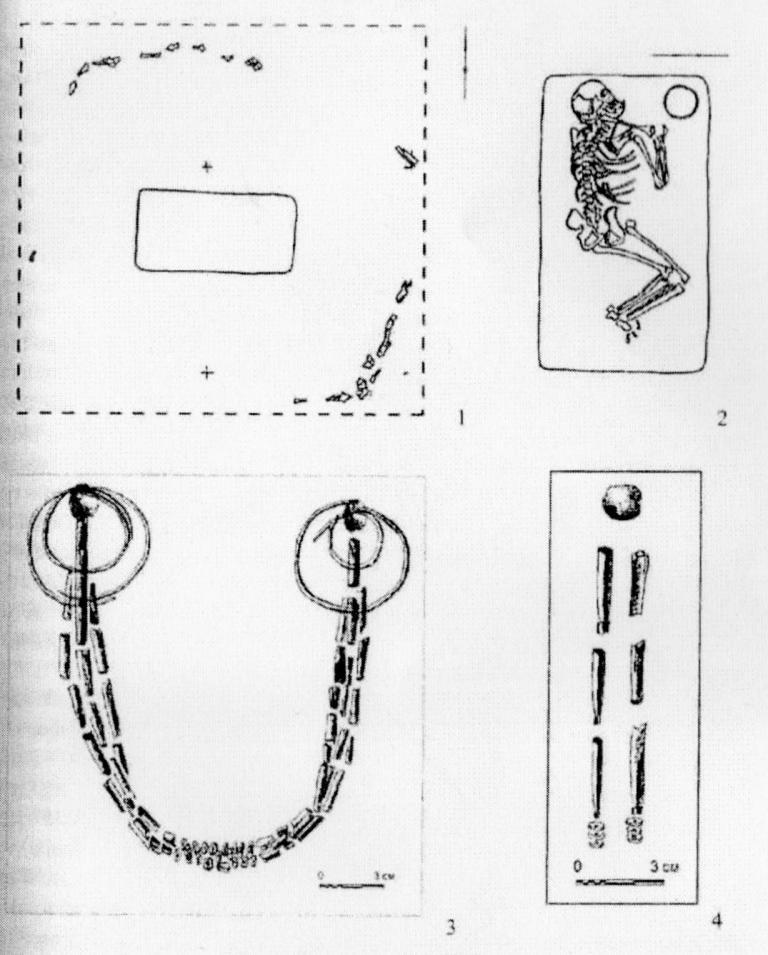 Рис. I. Могильник Танай-12. 1 - план кургана № 16; 2 погребение I кургана № 16, набор украшений: 3 - погребение 18, курган № 9. 4 - погребение I, курган №16.