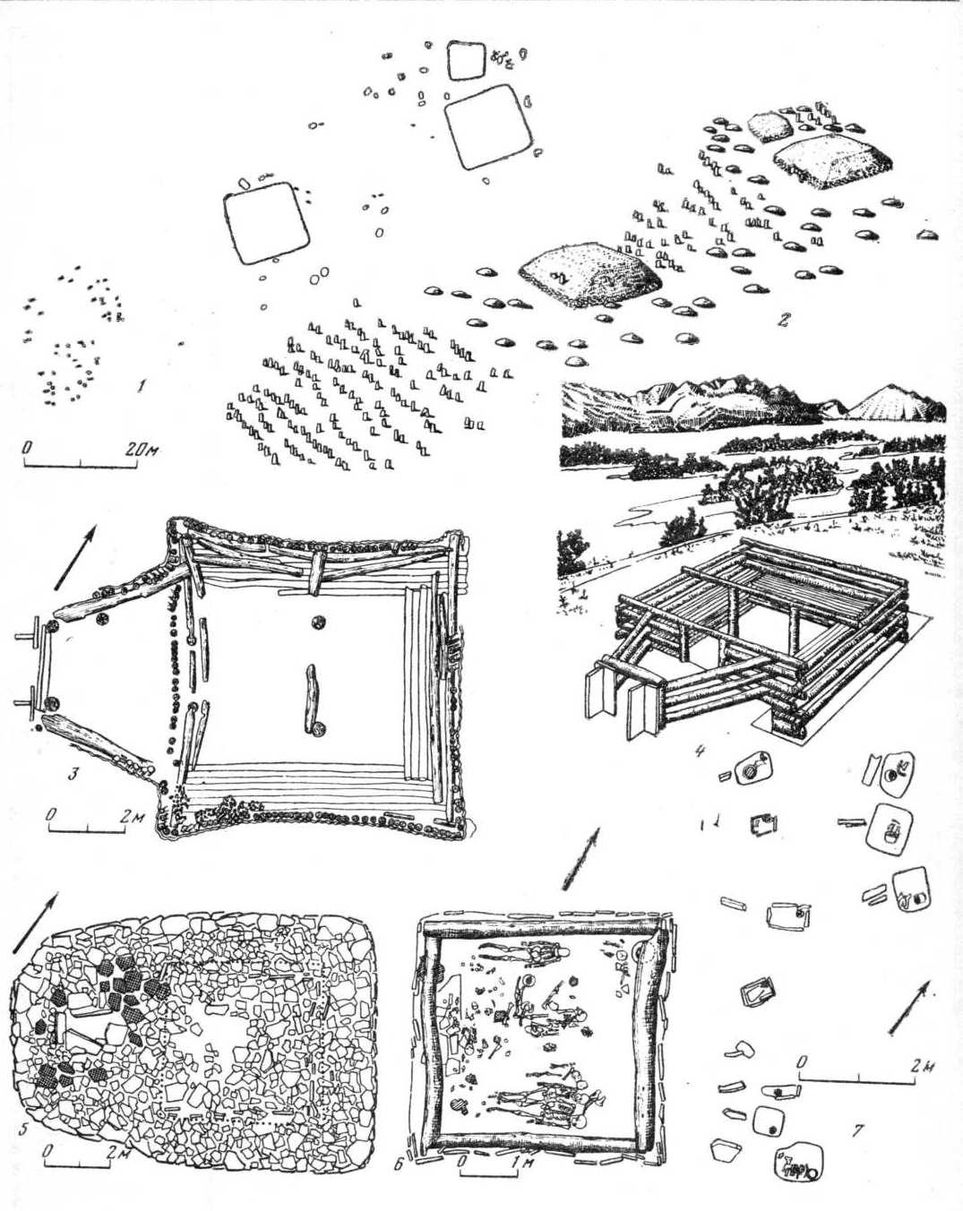 """Таблица 96. Таштыкская культура. Планы могильника, склепов, """"поминальника"""", реконструкции."""