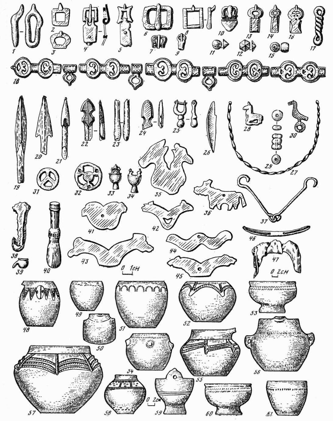 Таблица 98. Таштыкская культура. Вещи из склепов.