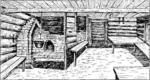 Внутренность мишарской курной избы (д. Ахтуково, Сергачского у., Нижегородской губ., 1927 г.)