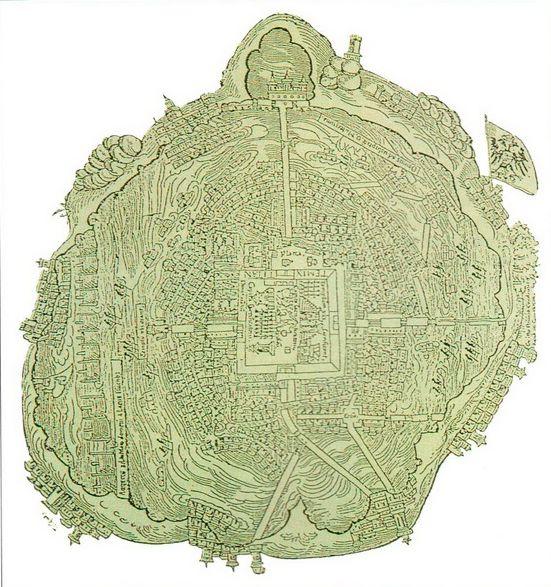 Карта Теночтитлана сохранившаяся с XVI в. Город был построен на озере, и с берегами его связывали дамбы.