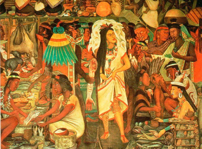 А Картина Диего Риверы, изображающая рынок Теночтитлана.Там продавали продукты питания, золото, перья, ювелирные и гончарные изделия, шкуры животных, кремневые и обсидиановые ножи и множество других товаров.