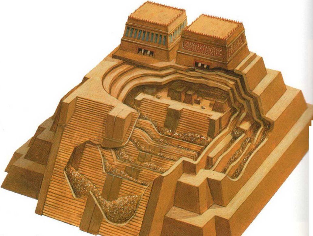 Великий храм Теночтитлана перестраивался по крайней мере шесть раз. При этом ацтеки не разрушали то, что было построено раньше, а возводили новые постройки поверх и вокруг старых.