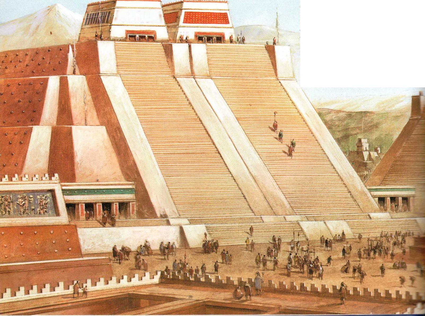 Так, по представлению художника, выглядела территория главного храма Теночтитлана. В XVI столетии испанские завоеватели уничтожили столицу ацтеков, а на ее развалинах построили собственный город. Реконструкция центра Теночтитлана основана на археологических и документальных свидетельствах. Над этим священным местом, окруженным стеной, возвышалась огромная пирамида, на вершине которой стоял сдвоенный храм, посвященный богу дождя Тлалоку и богу солнца и войны Уицилопочтли.