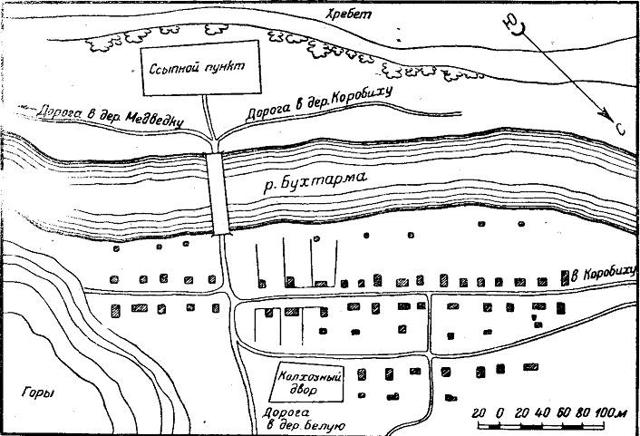 Уличный план деревни (русская деревня Печи, Алтай)