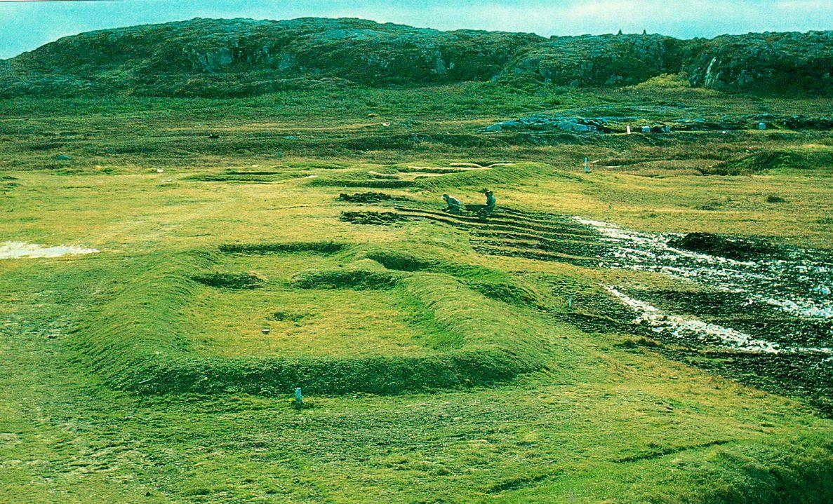 Неглубокая впадина в земле — это все, что осталось от одного из домов викингов в Анс-о-Мидоуз. Археологи обнаружили восемь строений, разделенных на три отдельно стоящие группы. Дома состояли из большого, многоместного спального помещения, общей жилой комнаты, мастерской и кладовой. В стороне от жилья была расположена мастерская с плавильной печью.