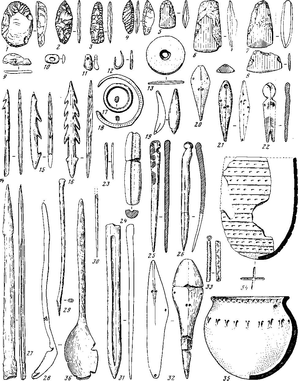 Рис. 135. Изделия шиверской культуры. 1—33, 35 — могильник Шумилиха; 34 — Шиверский могильник, погребение 1
