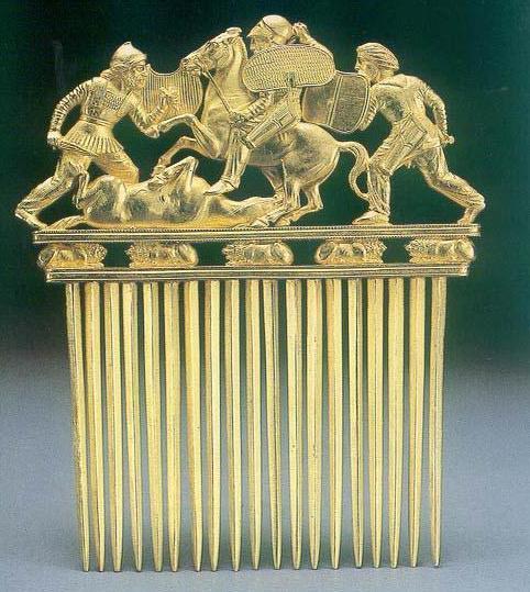 Золотой гребень из кургана Солоха.