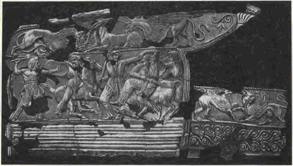 Серебряная обкладка горита из кургана Солоха.