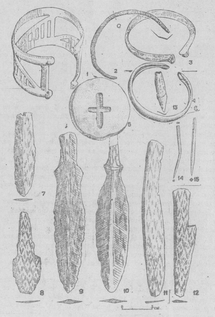 Рис. 4. Могильник Черноогерье 1. 1-4 - медные браслеты; 5 - глиняный кружок; 6 - медная игла; 7-12- медные ножи; 13- резец животного;