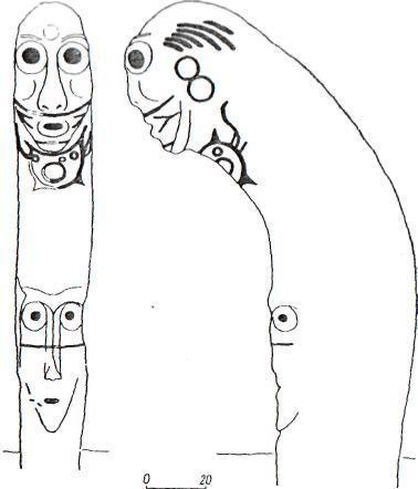 Рис. 114. Стела с изображением европеоидного лица (Абаканский музей)
