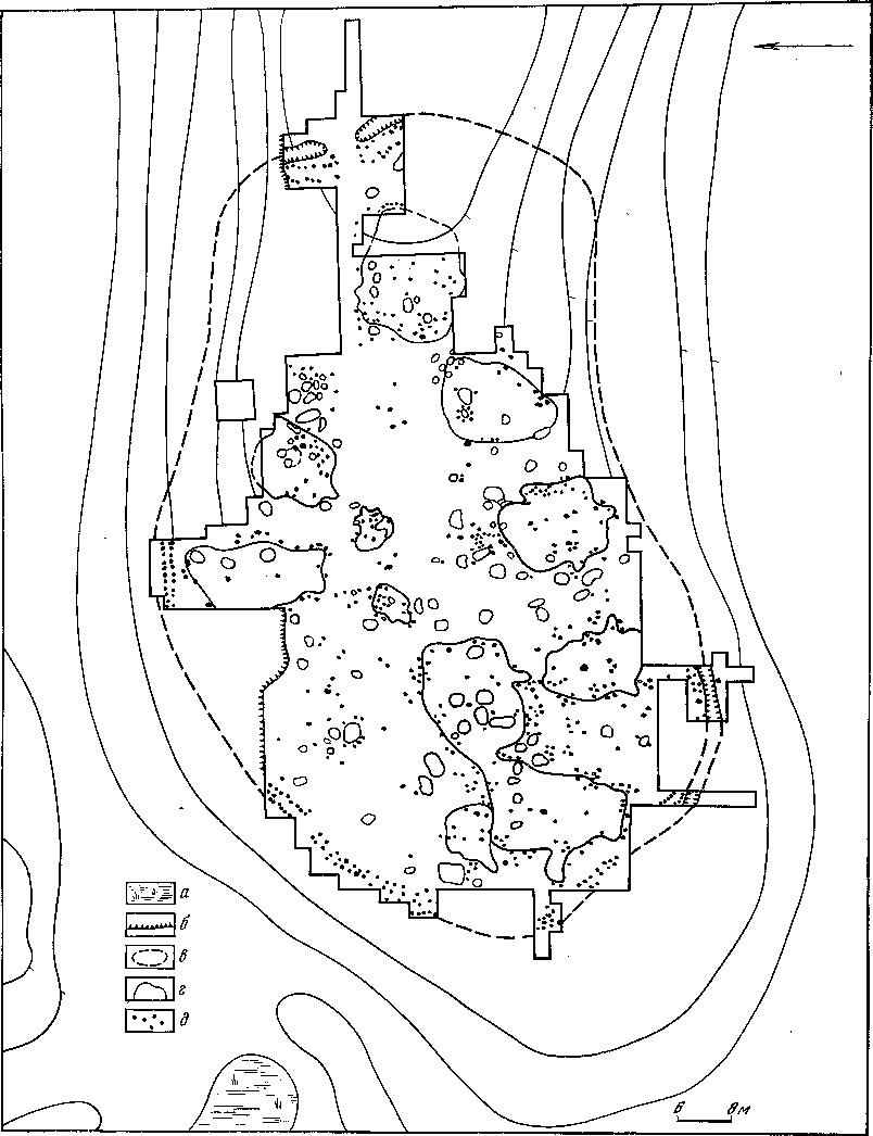 Рис. 59. Шиловский абашевский поселок а — заболоченные участки; б — обнажения; в — границы поселка; г — контуры