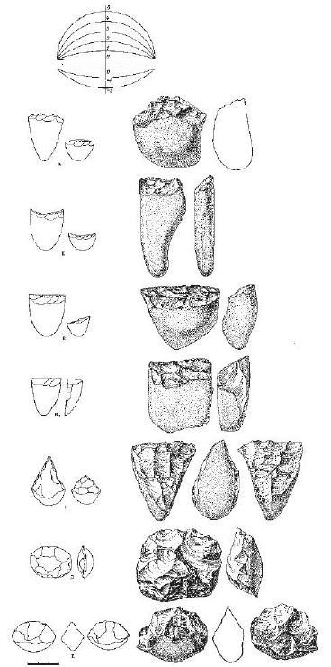 Рис. 56. Типология галечных орущий из палеолитических стоянок среднего течения Енисея по З.А. Абрамовой: в левой колонке изображены типы галечных орущий, в правой - приводятся рисунки соответствующих конкретных предметов (для типов А Б и В, соответственно, - подгруппы А2, Б1, В2); вверху рисунка изображена условная шкала кривизны рабочего края орудий.
