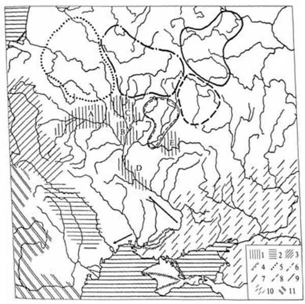Рис. 1. Археологічні культури ІІІ ст. до н. е. — І ст. н. е.: 1 — зарубинецька (локальні варіанти: А — прип'ятсько-поліський, В — типу Горошков-Чаплин, С — типу Кістені-Чечерськ, D — середньодніпровський, Е — типу Харівка); 2 — поєнешті-лукашівська; 3 — пшеворська; 4 — юхпівська; 5 — культура штрихованої кераміки; 6 — дніпро-двінська; 7— пізньоскіфські культурні групи; 8 — верхньоокська; 9 — дяківська; 10— сарматські пам'ятки; 11 — латенські пам'ятки (стрілками показано напрями сарматської експансії на рубежі нашої ери)
