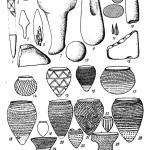 Каменные и медные орудия и глиняные сосуды из афанасьевских курганов у с. Теси (раск. 1928 г.). Рис. 1 — кость; рис. 2, 3, 5, 6, 9 — медь; рис. 4, 7, 8, 10—13 — камень; рис. 14—29 — керамика.